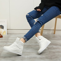 Leather Round Toe Lace Up Velcro Hidden Heel Sneakers