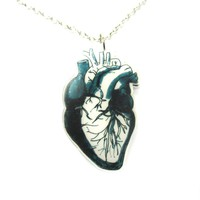 Realistic Human Heart Organ Anatomy Illustration Necklace in Acrylic | DOTOLY