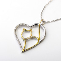Crystal Heart Pendant Necklace with 18K Gold Plated Cat 925 Sterling Silver