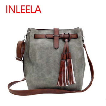 INLEELA 2016 Fashion Scrub Women Bucket Bag Vintage Tassel Messenger Bag Large Retro Shoulder Bag Simple Crossbody Bag