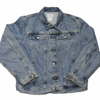 Vintage 90s Calvin Klein Double Stone Wash Denim Jacket Mens Size Large (Slim Fit)