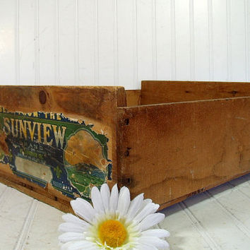 Vintage Fruit Gathering & Harvesting Crate - Wooden Bin with Original SunView Grapes Paper Label - Wood Box for Repurposing or Display