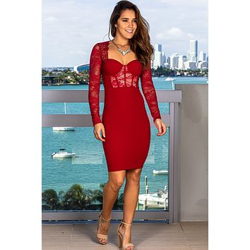 Red Bodycon Short Dress with Lace Sleeves