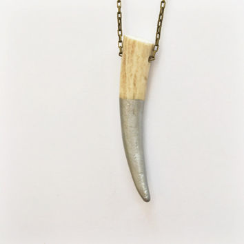 SILVER DEER ANTLER | antler necklace, silver dipped antler, real antler necklace, animal bones, horn necklace, painted antler, taxidermy