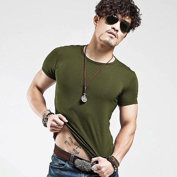 V neck Men's T Shirt Men Fashion Tshirts Fitness Casual For Male T-shirt S-5XL-Multiple Colors