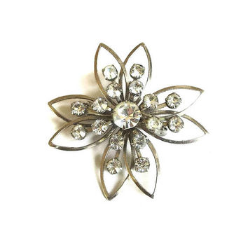 Clear Rhinestone Layered Star or Snowflake Brooch Vintage