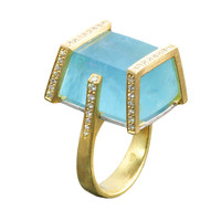 Stunning Aquamarine and Diamond Bar Ring