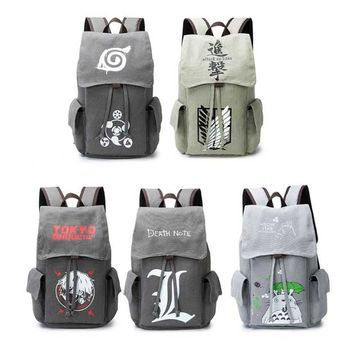 Cool Attack on Titan Anime Naturo Totoro  Tokyo Ghoul Death Note Cosplay Backpack Large Capacity Travel School Book Bag Rucksack AT_90_11
