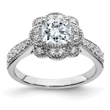 14k White Gold 1.52CT Cushion Floral Halo Moissanite Engagement Ring