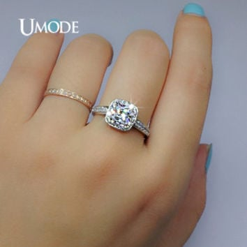 UMODE White Gold Color 1.25ct Princess Cut Cubic Zirconia Anelli Donna Bijoux Wedding Rings for woman UR0013B