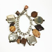Wood Charm Bracelet Silver Tone Chain Links Wooden Beads Jewelry Boho Style Large Chunky Charms Fall Colors Tan Taupe Squares Circles Balls
