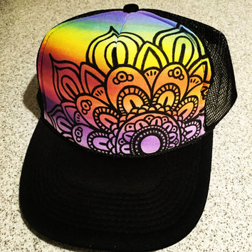 Manadala hand painted trucker hat snap back