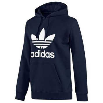 ADIDAS ORIGINALS TREFOIL HOODIE NAVY SIZES S M L XL OVERHEAD SWEATER JUMPER