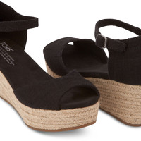 BLACK LINEN VEGAN WOMEN'S PLATFORM WEDGES