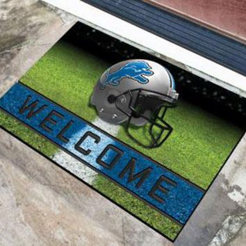 Detroit Lions Door Mat 18x30 Welcome Crumb Rubber