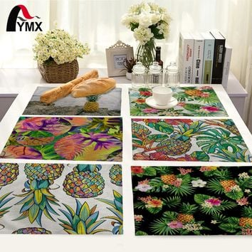 Tropical Plant Pineapple Pattern Table Mat Kitchen Decoration Fashion Place Mat Dining Accessories Table Napkin For Wedding