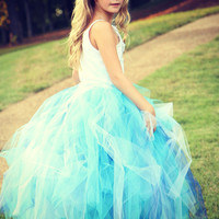 Youth Size 5 to 8 - Long Tutu Skirt - Aqua Blue - Wedding - Ballet - Photo Shoot - Flower Girl - Bridesmaid