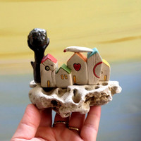 Ceramic miniature houses on natural stone / small houses  / little houses / ceramic sculptore , for the office , ceramics and pottery