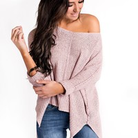 Soften Up High-Low Sweater (Misty Pink)