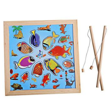 ICIK272 Kids Wooden Toy Children Magnetic Fishing Rod Model Bath Fun Toy Set Cartoon Baby Puzzle Magnetic Fishing Game Toy