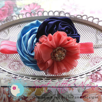 Light Blue Navy Coral Headband - Nautical Hair Bow - Girls Hairband - Satin Flower Clip - Big Baby Headband - Toddler Hair Piece - Spring