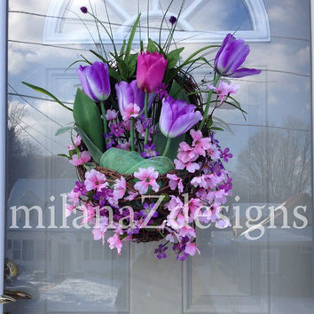 Spring Tulip Wreath, Pink and Purple Floral Door Basket, Easter Grapevine Wreath, Garden Style Arrangement, Bridal or Baby Shower Decoration