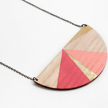 Half circle geometric wooden necklace - natural wood, pale rose, gold and pink - minimalist, modern jewelry - color blocking