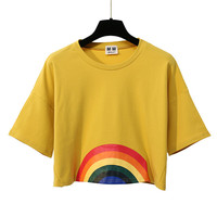 Merry Pretty Summer New Fashion Harajuku Women T-shirt Kawaii Rainbow Print Crop tops Tees Cute Cotton Top Short Sleeve T-Shirts