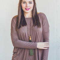 Long Sleeve Round Neck Piko Top in Brown