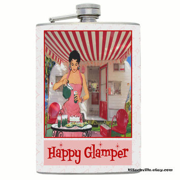 HAPPY GLAMPER Flask ~ Vintage, Kitschy Fun ~ Perfect for mixing up cocktails while glamping