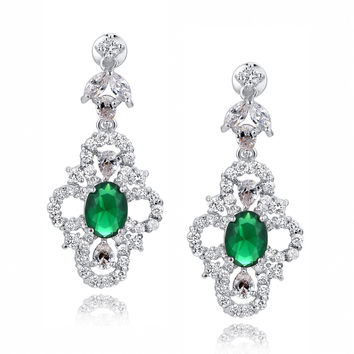Green Oval and Clear Teardrop, Marquise and Round Cubic Zirconia Earrings