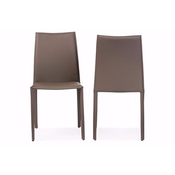 Rockford Modern and Taupe Bonded Leather Upholstered Dining Chair (Set of 2) By Baxton Studio