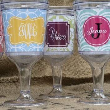 Personalized Acrylic Wine Glasses 11 oz. Bridesmaides by rrpage