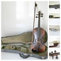 Antique Salzard Violin Signed 4/4 Labeled W.H. Crouse with Mother of Pearl Bow
