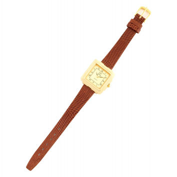 Ladies Square Face Brown Leather Watch - Ladies Square Face Brown Leather Watch / Brown, Gold