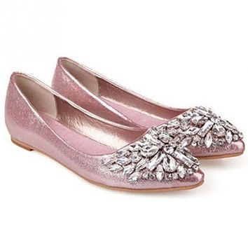 Crystal Ballet Princess Shoes Fashion Women Summer Shoes Solid Patent PU Shoes Girls Flats