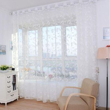 MDIGYN5 Super Deal Pteris Tulle Door Window Curtain Drape Panel Sheer Scarf Valances XT