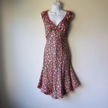 Classic 90s Betsey Johnson Dress -- Gorgeous Silk with Floral Roses on Black