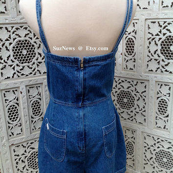 Vintage Denim Romper Fitted Daisy Appliques Pockets Strappy //SuzNews Etsy Store