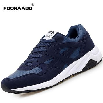 FOORAABO 2017 New Brand Casual Mens Shoes Autumn Breathable Fashion Luxury Men Leather Shoes Flat Hot Sale Male Zapatillas