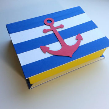 Keepsake Box - Nautical Sailing Design Anchor 5x7 Hand-bound Handmade Gift Customized Contemporary
