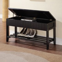 Black Solid Wood Storage Bench with Shoe Shelf | Overstock.com Shopping - The Best Deals on Benches