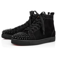 Lou Spikes Flat Black/Black/Bk Suede - Men Shoes - Christian Louboutin
