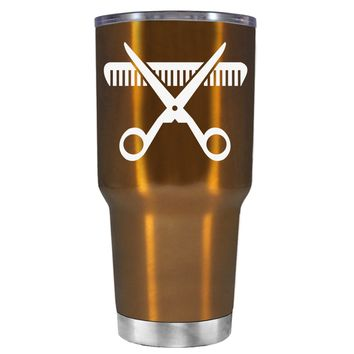 HairStylist Scissor and Comb Silhouette on Copper 30 oz Tumbler Cup