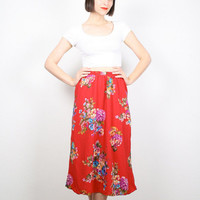 Vintage Red Skirt 1980s 80s Skirt Floral Print Midi Skirt Secretary Dress Skirt Spring High Waisted Knee Length Tea Skirt S Small M medium