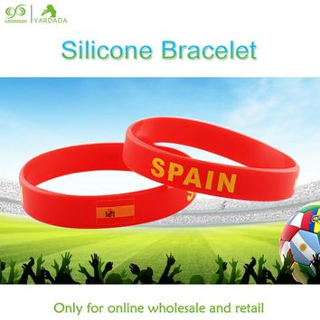 1pc Spain flag Silicone Bracelets Popular Silicone Wristband Sports Energy Wrist Band Rubber Buckle Bangle Gifts