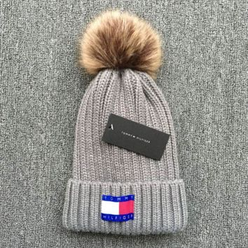 Tommy Hilfiger 2018 new thick knit cap and qiu dong warm wool hat Grey