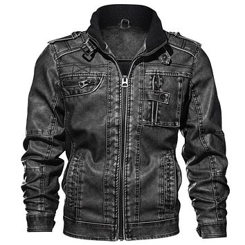 Mens Leather Jackets High Quality Classic Motorcycle Jacket Male Plus faux leather jacket men 2019 spring Drop shipping