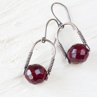 Deep Red Minimalist Earrings