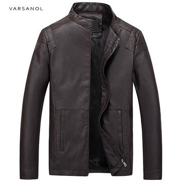 Men Bomber Jackets Windbreaker PU Leather Coats Solid Male Full Sleeve Winter Causal Outerwear